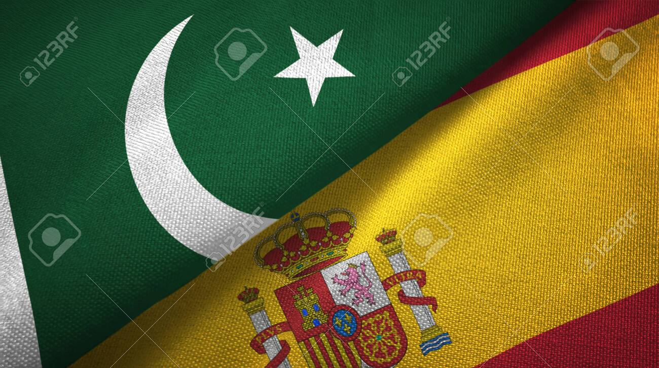 Pakistan and Spain two flags textile cloth, fabric texture