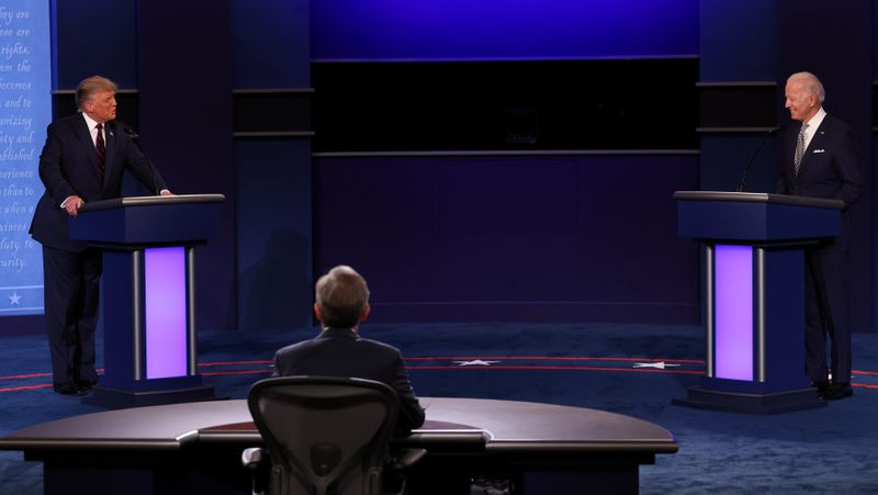 US President Donald Trump and Democratic presidential nominee Joe Biden participate in their first 2020 presidential campaign debate in Cleveland